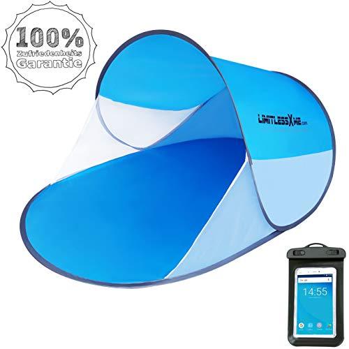 LimitlessXme Pop Up Strandmuschel und GRATIS Handyhülle, Tragetasche & Heringen | 200x120x90cm - Sonnenschutz (UV-Schutz 30+)