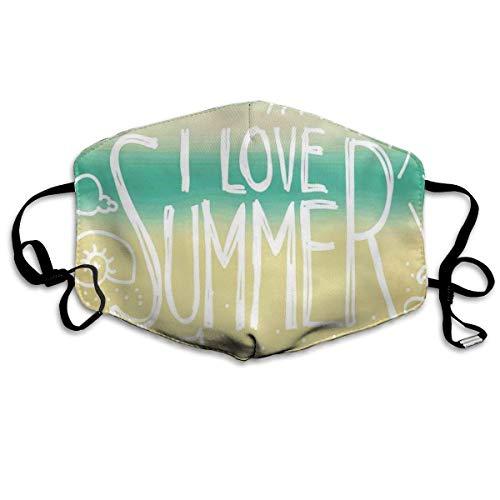 Sanitary Cover,Ich Liebe Sommerphrase Mit Sonnenmuschel Und Seestern Kritzeln Auf Unscharfem Hintergrund Sanitärabdeckung, Druck Gesichtsschutz