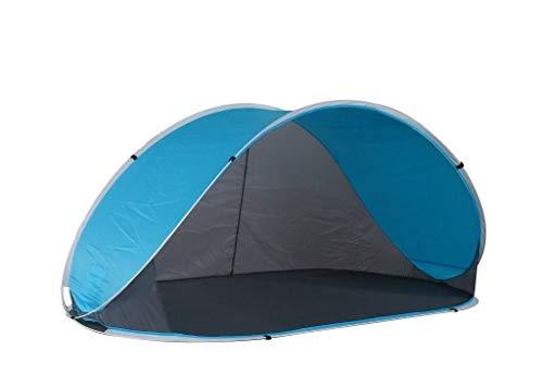 Strandmuschel Pop Up Strandzelt Grau + Blau Polyester blitzschneller Aufbau Wetter- und Sichtschutz Duhome 5060